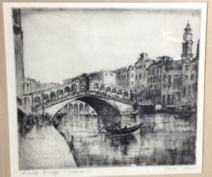 Alfred Bennet (1861-1916) - Rialto Bridge, Venice - drypoint etching