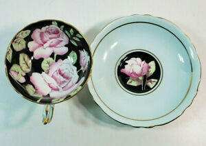 Paragon Mint Green Black with Pink Cabbage Rose Footed Tea Cup & Saucer, A675