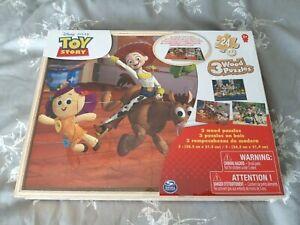 TOY STORY - 3 WOOD JIGSAW PUZZLES - NEW SEALED - 5+ KIDS CHILDREN / DISNEY PIXAR