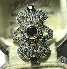 Vintage Style Art Deco Sterling SILVER Marcasite Garnet Stone Jewellery RING N