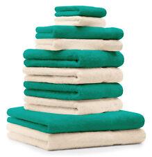 Betz lot de 10 serviettes Classic: vert émeraude & beige, 100% coton