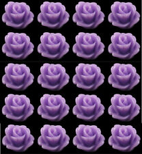 Resin Flower Cabochons 20 Petite Violet Roses Retro 7.5mm x 6mm For Fab Earrings