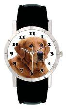 Golden Retriever Dog Man Lady Genuine Leather Water Resistant Wrist Watch SA1987