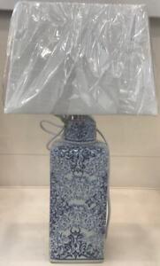 PAIR - Oriental Ceramic Table Lamps - 50cm H, 30cm shade diameter - NEW