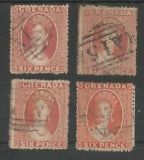GRENADA SG6-9   4 SHADES OF 1863-71 6d USED CAT £100 MINIMUM