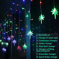 String Fairy Net Wall Lights Hanging Snow Curtain Tree Party Wedding Out/Indoor