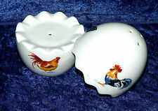 Chicken Cockrels rooster  design  bone china 2 part egg cruet salt & pepper set