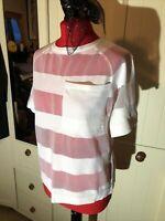 NEXT Ladies White Short Sleeve Mesh Stripe Semi Sheer T Shirt Top Size 12 NEW