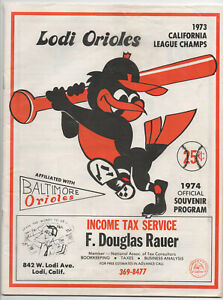 1974 LODI ORIOLES Program BALTIMORE ORIOLES farm team