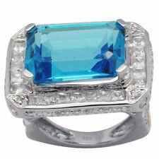De Buman 23.54ctw Genuine Swiss Blue Topaz 18KY & 925 Silver Ring Size 7