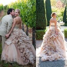 Gothic 2018 Organza Blush Wedding Dresses Ruffled Long Bridal Ball Gown Custom