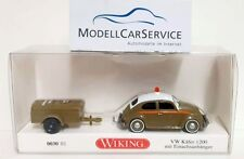 VW Beetle 1200 With Single Axle Trailer Vent Man Wiking 003001 Gauge H0 1 87