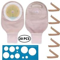 20x Durable Pouches Ostomy Bags w/ Clamps For Colostomy Ileostomy Stoma Supplies