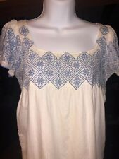 Heritage 1981 Lined White Cotton Dress Or Tunic Blue Stitching Embroidery Small