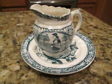 """ANTIQUE ENGLISH GREEN / WHITE STAFFORDSHIRE SYRUP PITCHER WITH MATCHING 5 1/2"""""""