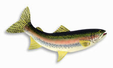 """Hand Painted 18"""" Large Rainbow Trout Game Fish Wall Mount Decor Sculpture Fa83B"""