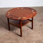Mid Century Danish Modern End Table Nightstand Side Mahogany Teak Wood End Round