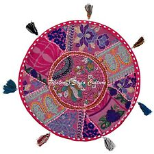 Bohemian Vintage Round Floor Cushion Cover Patchwork Kids Embroidered Cotton 18""