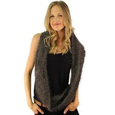 Winter Super Soft Fuzzy Furry Fluffy Knit Circle Loop Infinity Scarf Charcoal