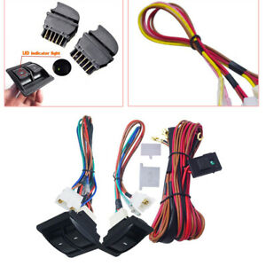Universal Car Electric Power Window Switch & 12V Wire Harness Kits 2 Doors Type