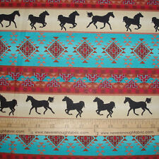 Cotton Fabric Native American Spirit of the Southwest on Tan Horses  BTY
