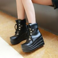 Women Creepers Lace-up Round Toe Wedge Heels Platform Ankle Boots Leather Shoes