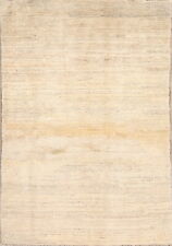 NEW Solid IVORY Gabbe Oriental Hand-Knotted MODERN Wool 4x6 Kitchen Rug