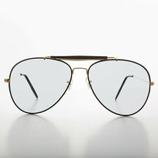 Aviator Vintage Sunglass with Transition Lens Black Brow Bar 58mm - Spruce