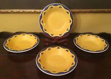 4 Salad Pasta Cereal Bowls Yellow And Blue Quadrifoglio Ceramica Vintage Italy