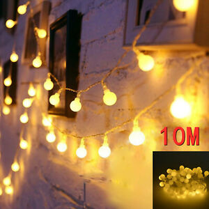 100LED 10M Globe Bulb Ball Fairy String Lights Mains Plug Garden Outdoor Indoor