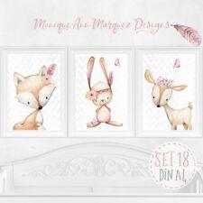 3x Kinder Baby Zimmer Bild er Wald Tiere Poster Tierbild Bilderset DIN A4 |SET18