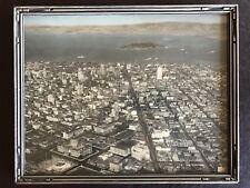 1920s Large Tinted Aerial View San Francisco Pre Alcatraz Prison & Golden Gate