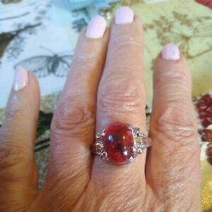 Faux Cherry Red  Baltic Amber Silver Tone Ring Costume Jewellery  Size U