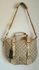 FRANCESCO BIASIA Large Gold Metal Shoulder Bag Beige Quilted Leather NWT $ 600.