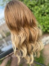 Luxury Lace Front Remy Wavy Ash Blonde Ombre Full Lace Human Hair Wig Balayage