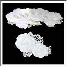 10 WHITE DOUBLE FLOWER LASER CUT CARD TOPPER EMBELLISHMENTS IDEAL WEDDING INVITE