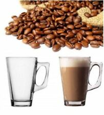 NEW SET OF 6 240ML CLEAR TALL COSTA CAPPUCCINO COFFE TEA LATTE GLASS MUGS CUPS