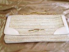 Clutch/Shoulder Bag basket weave /Leather cream gold shoulder chain
