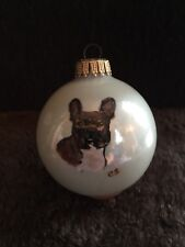 """Collectible white 3"""" Vintage Hand Painted Boston Terrier Glass ornament by C.S."""