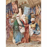 Amadeo Preziosi The Silk Bazaar Extra Large Wall Art Print Premium Canvas Mural