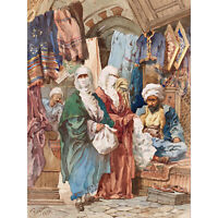 Amadeo Preziosi The Silk Bazaar Extra Large Wall Art Print Premium Canvas Mural
