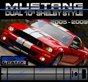 "2005 - 2009 Ford Mustang Dual 10"" GT 500 Rally Kit #1 in Dealer Quality Stripes"