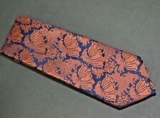 Exquisite Lorenzo Cana Reflective Copper on Navy Field Italian Silk 60 X 3 1/8