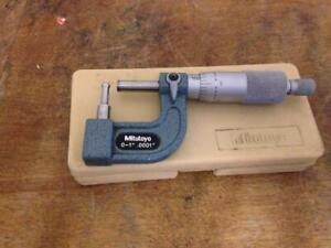 """Mitutoyo # 115-313 Tube Micrometer 0-1"""" .0001 In Original Case Type C"""
