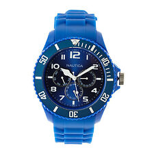 Nautica Men's N00543 Sporty Blue Resin Quartz Watch Day Date 24 Hour Subdials