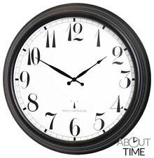 Radio Controlled Garden Clock Large Black Outdoor Round Weatherproof Deluxe 57cm