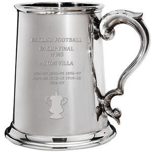 Aston Villa English FA Cup Winner 1pt Pewter Tankard Gift