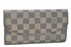 Authentic Louis Vuitton Damier Azur Portefeuille Emilie Wallet N63021 LV D7764
