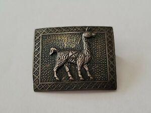 Vintage 925 Sterling Silver Llama Alpaca Peru  Brooch Pin Signed GC