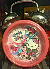 """Hello Kitty Pink Alarm Clock 7"""" Tall Pre-Owned"""